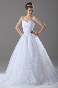 Fancy White Ball Gowns Sweetheart Sleeveless Tulle Brush Train Lace Up Beading and Lace Wedding Dresses