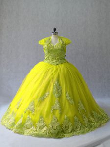 Yellow Green Ball Gowns Tulle Sweetheart Sleeveless Appliques Lace Up Sweet 16 Dresses Court Train