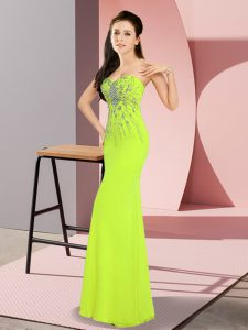 Yellow Green Column/Sheath Chiffon Sweetheart Sleeveless Beading Floor Length Zipper Homecoming Dress