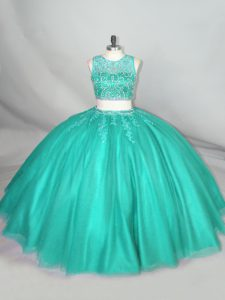 Free and Easy Scoop Sleeveless Sweet 16 Quinceanera Dress Floor Length Beading Turquoise Tulle