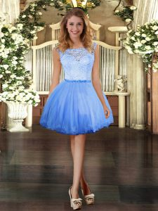Free and Easy Blue Sleeveless Lace Mini Length Prom Gown