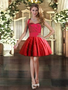 Mini Length Lace Up Prom Dress Red for Prom and Party with Appliques