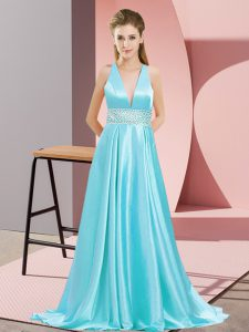 Sumptuous Aqua Blue Empire Elastic Woven Satin V-neck Sleeveless Beading Backless Formal Dresses Brush Train