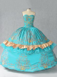 Aqua Blue Lace Up Sweetheart Embroidery and Bowknot Sweet 16 Dress Satin and Organza Sleeveless