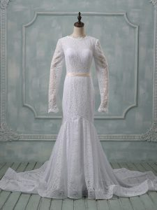 Ideal Scoop Long Sleeves Wedding Gown Court Train Lace and Belt White Lace
