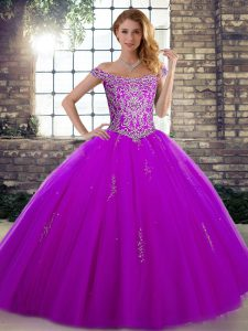 Most Popular Purple Sleeveless Beading Floor Length 15th Birthday Dress