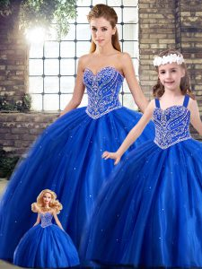 Top Selling Sleeveless Tulle Brush Train Lace Up Quinceanera Gown in Blue with Beading