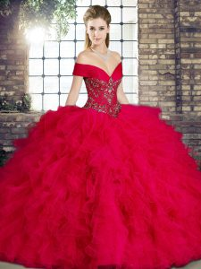 Trendy Sleeveless Floor Length Beading and Ruffles Lace Up Quinceanera Gown with Red