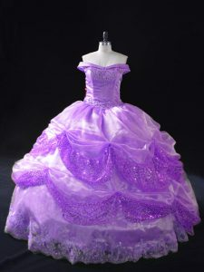 Sleeveless Organza Lace Up Quinceanera Gowns in Lavender with Beading and Appliques and Sequins