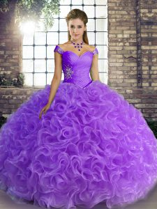 Fancy Lavender Sleeveless Fabric With Rolling Flowers Lace Up 15 Quinceanera Dress for Military Ball and Sweet 16 and Quinceanera