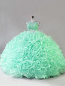 Flirting Apple Green Fabric With Rolling Flowers Zipper Scoop Sleeveless Quince Ball Gowns Beading and Ruffles