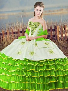Quince Ball Gowns Sweet 16 and Quinceanera with Beading and Ruffled Layers Sweetheart Sleeveless Lace Up