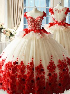 Glorious Sleeveless Tulle Brush Train Zipper 15 Quinceanera Dress in White And Red with Hand Made Flower