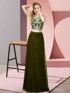 Sexy Scoop Sleeveless Backless Prom Dress Olive Green Chiffon