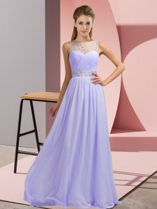 Lavender Sleeveless Chiffon Backless Pageant Dress for Teens for Prom and Party