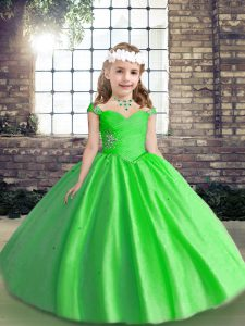 Ball Gowns Straps Sleeveless Tulle Floor Length Lace Up Beading Evening Gowns
