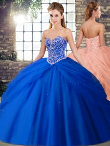 Adorable Tulle Sleeveless Quince Ball Gowns Brush Train and Beading and Pick Ups