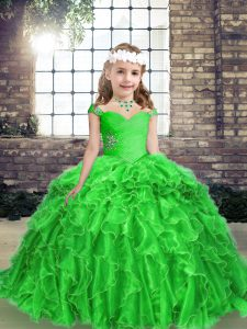 Straps Sleeveless Lace Up Pageant Dress Wholesale Green Organza