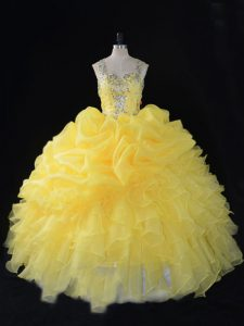 Exceptional Sleeveless Zipper Floor Length Beading and Ruffles and Pick Ups Quinceanera Gown