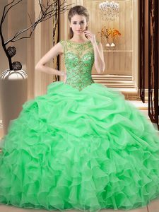 Floor Length Lace Up Sweet 16 Dresses for Sweet 16 and Quinceanera with Beading and Ruffles and Pick Ups