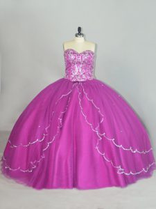 Captivating Sweetheart Sleeveless Vestidos de Quinceanera Brush Train Beading and Sequins Fuchsia Tulle