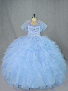 Custom Made Organza Sleeveless Floor Length Sweet 16 Quinceanera Dress and Beading and Ruffles