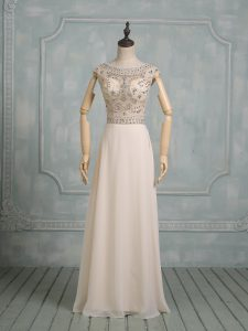 Discount Chiffon Cap Sleeves Floor Length Wedding Dresses and Beading