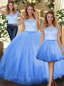 Vintage Floor Length Clasp Handle 15 Quinceanera Dress Blue for Military Ball and Sweet 16 and Quinceanera with Lace