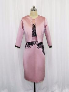 Fashionable Mini Length Pink Satin Long Sleeves Lace and Appliques