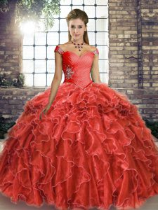 Fantastic Sleeveless Beading and Ruffles Lace Up Quinceanera Dress with Coral Red Brush Train