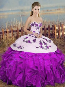 Sweetheart Sleeveless Lace Up Quince Ball Gowns White And Purple Organza