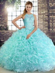 Scoop Sleeveless Lace Up Ball Gown Prom Dress Aqua Blue Fabric With Rolling Flowers