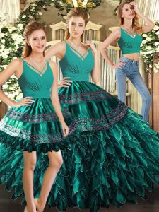 Turquoise Sleeveless Floor Length Appliques and Ruffles Backless 15 Quinceanera Dress