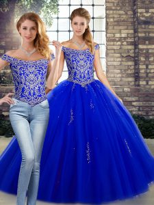 Delicate Floor Length Lace Up Sweet 16 Dresses Royal Blue for Military Ball and Sweet 16 and Quinceanera with Beading
