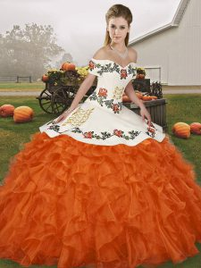 Excellent Orange Red Lace Up Vestidos de Quinceanera Embroidery and Ruffles Sleeveless Floor Length