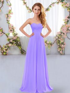 Sleeveless Chiffon Floor Length Lace Up Damas Dress in Lavender with Ruching