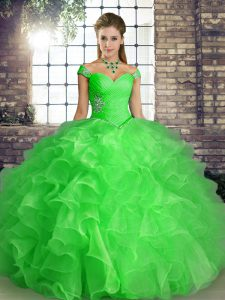 Green Sweet 16 Dress Military Ball and Sweet 16 and Quinceanera with Beading and Ruffles Off The Shoulder Sleeveless Lace Up