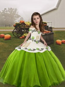 Green Ball Gowns Straps Sleeveless Organza Floor Length Lace Up Embroidery Pageant Dress for Girls