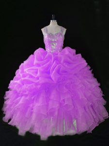 Lilac Organza Zipper Quinceanera Dress Sleeveless Floor Length Sequins and Pick Ups