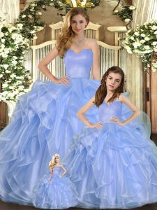 Super Sleeveless Floor Length Ruffles Lace Up Sweet 16 Quinceanera Dress with Lavender