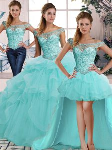 Modern Aqua Blue Off The Shoulder Lace Up Beading and Ruffles 15 Quinceanera Dress Sleeveless