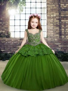 Green Ball Gowns Beading Pageant Dress for Teens Lace Up Tulle Sleeveless Floor Length