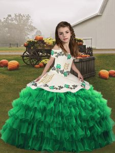 Floor Length Green Pageant Dress for Womens Organza Sleeveless Embroidery