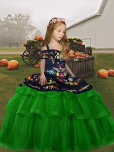 Tulle Straps Sleeveless Lace Up Embroidery and Ruffled Layers Pageant Dress for Teens in Green