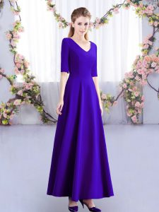 Traditional V-neck Half Sleeves Vestidos de Damas Ankle Length Ruching Purple Satin