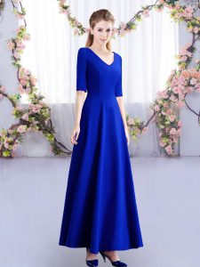 Best Selling Ankle Length Empire Half Sleeves Royal Blue Quinceanera Dama Dress Zipper