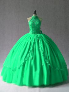 Halter Top Sleeveless Lace Up Sweet 16 Quinceanera Dress Green Lace