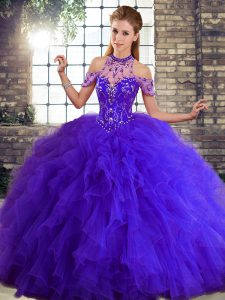 Purple Lace Up Halter Top Beading and Ruffles Vestidos de Quinceanera Tulle Sleeveless