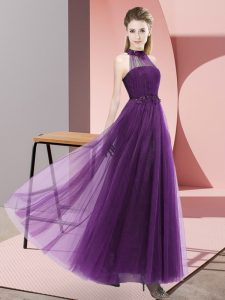 Low Price Dark Purple Lace Up Wedding Guest Dresses Beading and Appliques Sleeveless Floor Length