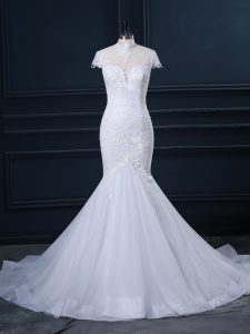 Customized White Clasp Handle High-neck Lace Wedding Gowns Tulle Cap Sleeves Court Train